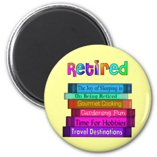 Retirement Gifts Unique Stack of Books Design 2 Inch Round Magnet