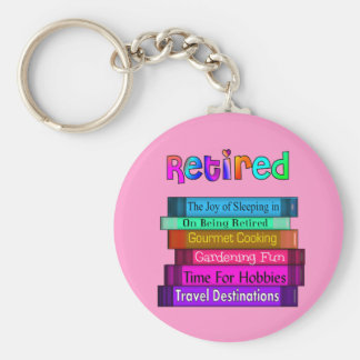 Retirement Gifts Unique Stack of Books Design Basic Round Button Keychain