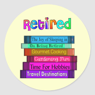 Retirement Gifts Unique Stack of Books Design Classic Round Sticker