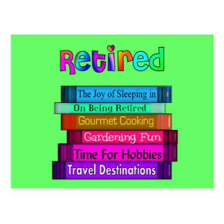Retirement Gifts Unique Stack of Books Design Postcard