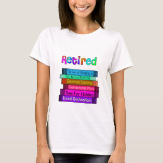 Retirement Gifts Unique Stack of Books Design T-Shirt