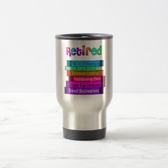 Retirement Gifts Unique Stack of Books Design Travel Mug