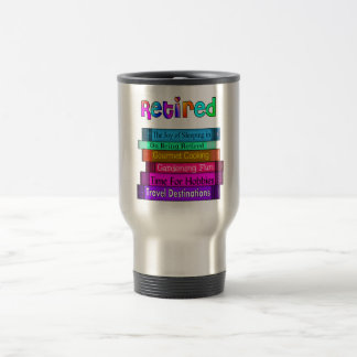 Retirement Gifts Unique Stack of Books Design Travel Mug
