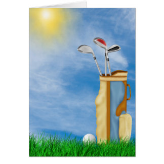 retirement-golf ball and bag in grass card