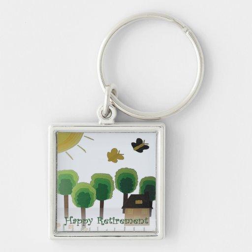 Retirement Happy Art Green Landscape Keychain Zazzle