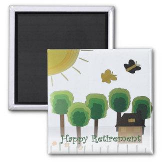 Retirement Happy Art Green Landscape Square Magnet