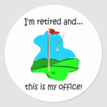 Retirement humor for golfers round stickers