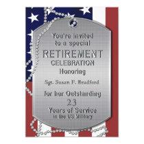 Retirement Invitation - Military - Dog Tags-FEMALE