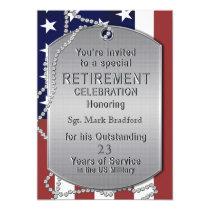 Retirement Invitation - Military - Dog Tags-MALE