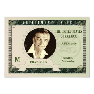 RETIREMENT INVITATION - MONEY NOTE - PHOTO INSERT