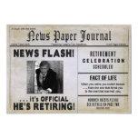 Retirement Invitation-NewspaperPHOTO/ Personalize 5x7 Paper Invitation Card