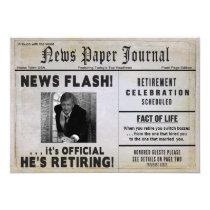 Retirement Invitation-NewspaperPHOTO/ Personalize Card