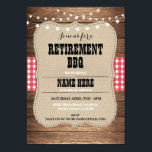 "Retirement Invitation Retired Party BBQ Red Invite<br><div class=""desc"">Rustic bbq style retirement invitation. Back print included,  simply edit the text to suit your party.</div>"