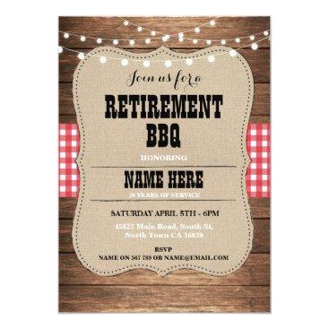 retirements Retirement Invitation Retired Party BBQ Red Invite