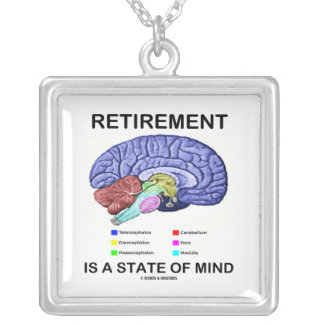 Retirement Is A State Of Mind (Anatomical Brain) Silver Plated Necklace