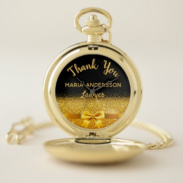 Retirement lawyer gold bow thank you pocket watch