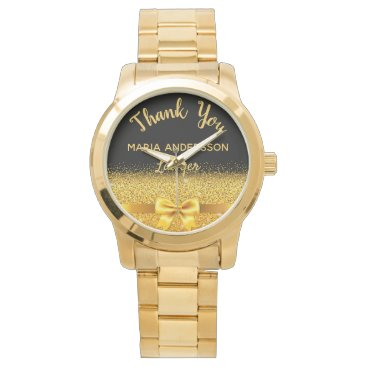 Retirement Lawyer gold bow thank you Watch