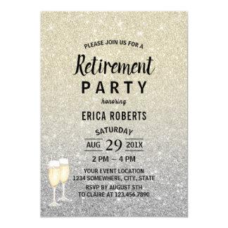 Retirement Modern Ivory & Silver Glitter Card