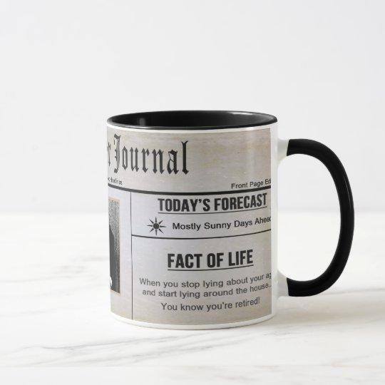 retirement mug photo insert newspaper. Black Bedroom Furniture Sets. Home Design Ideas
