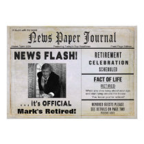 RETIREMENT NEWS FLASH INVITE -PHOTO & NAME INSERT