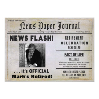 RETIREMENT NEWS FLASH INVITE -PHOTO & NAME INSERT