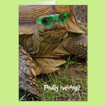 Retirement-old tortoise with green sunglasses card