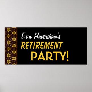 Retirement Party Banner Custom Name Gold Black Poster