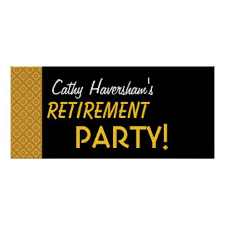 Retirement Party Banner Custom Name Gold Black Posters