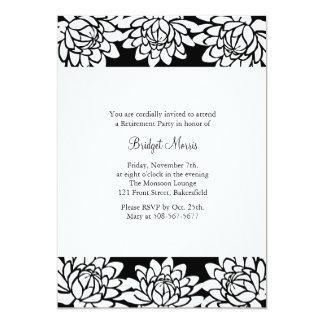 Retirement Party Black Modern and Floral Invite