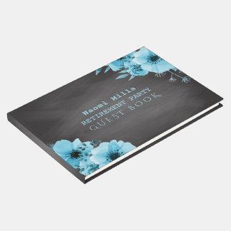 Retirement Party Blue Flowers | Teacher Chalkboard Guest Book