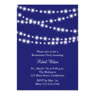 Retirement Party Blue Twinkle Lights 5x7 Paper Invitation Card