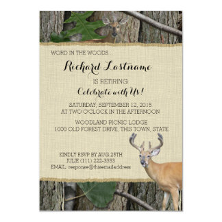 Retirement Party Buck and Doe 5x7 Paper Invitation Card