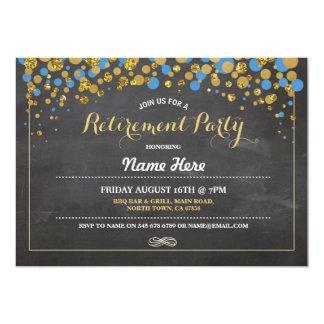 Retirement Party Chalk Blue Gold Dotty Invite