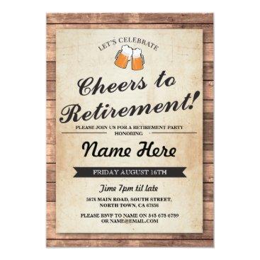 retirements Retirement Party Cheers Beers Wood Pub Invitation