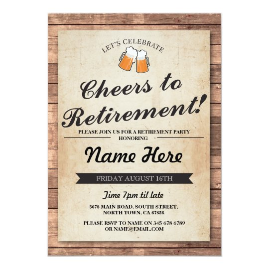 Retirement Party Cheers Beers Wood Pub Invitation Zazzle Com
