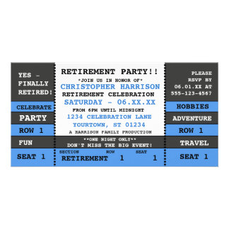 Retirement Party Concert Ticket Invitation Picture Card