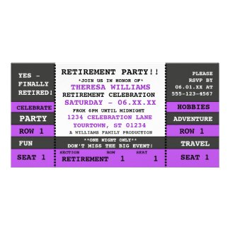 Retirement Party Concert Ticket Invitation Custom Photo Card