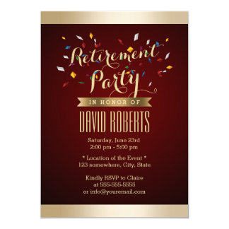 Retirement Party Elegant Wine Red Gold Stripes Card