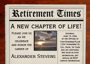 Newspaper invitations announcements zazzle retirement party fun newspaper invitation stopboris Choice Image