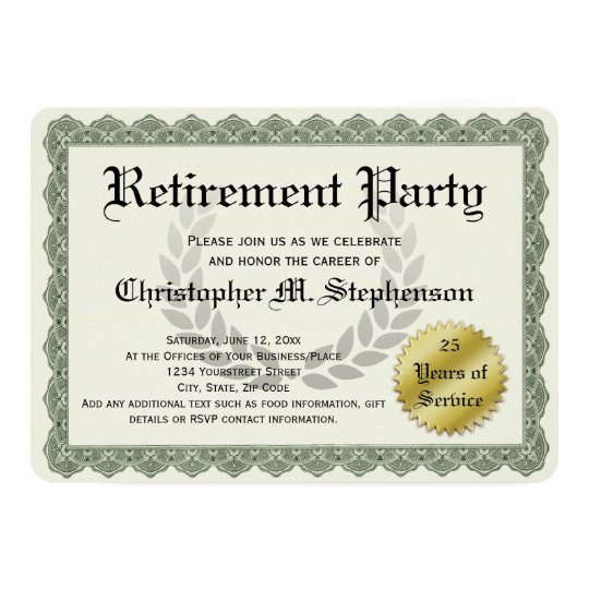Retirement Party Funny Recognition Certificate Invitation