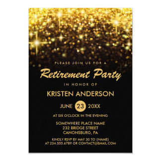 Retirement Party Gold Glitter Glamour Sparkles Card