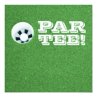 "Retirement Party - Golf Theme - PAR-TEE! 5.25"" Square Invitation Card"