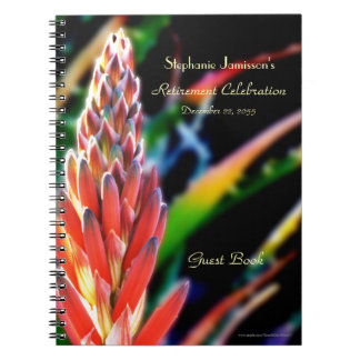 Retirement Party Guest Book, Exotic Aloe Flower Spiral Notebook