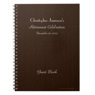 Retirement Party Guest Book, Faux Brown Burlap Notebook