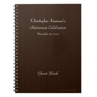 Retirement Party Guest Book, Faux Brown Burlap Spiral Notebook
