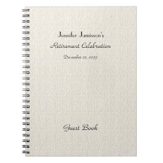 Retirement Party Guest Book, Faux Textured Burlap Spiral Note Book