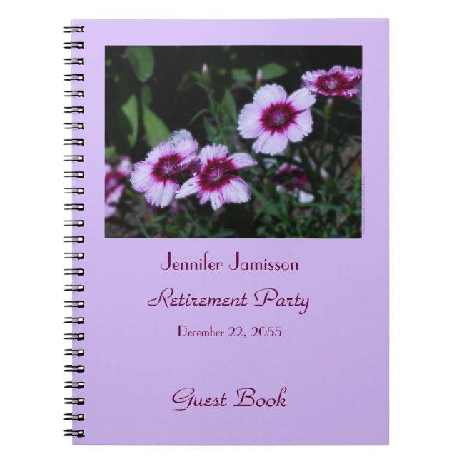 Retirement Party Guest Book, Purple Flowers