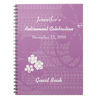 Retirement Party Guest Book Purple, White Floral Spiral Notebook