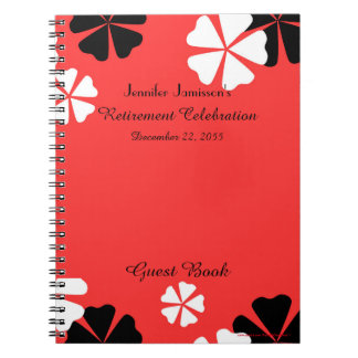 Retirement Party Guest Book, Red Floral Spiral Notebook