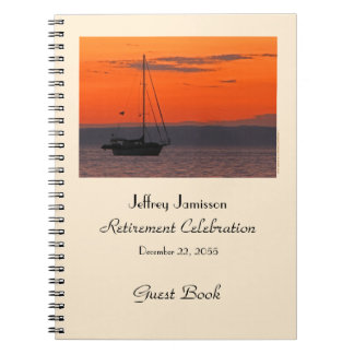 Retirement Party Guest Book, Sailboat at Sunset Spiral Notebook